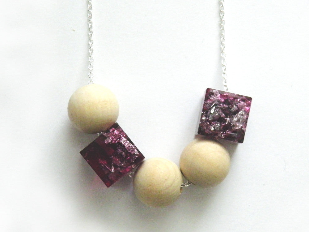 Plum + Silver Resin + Wood Necklace