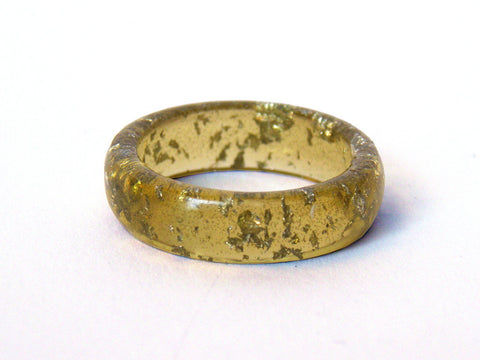 SALE Chartreuse + Silver Leaf Resin Ring