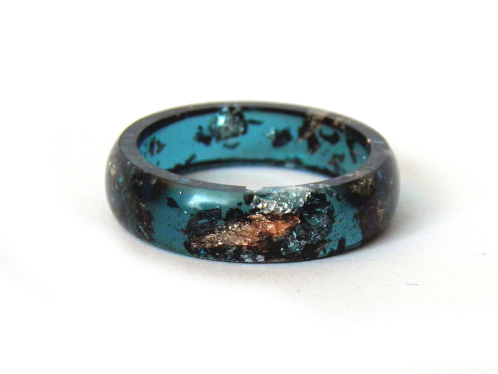 Jade, Copper + Silver Leaf Resin Ring