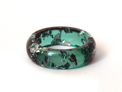 Green & Silver Resin Ring