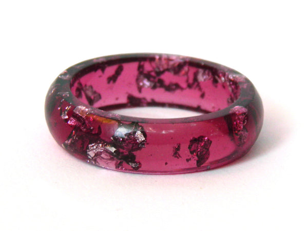 Plum + Silver Leaf Resin Ring