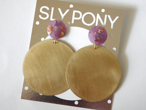 Large Brass + Resin Circle Drop Studs - SuperFancy Clear