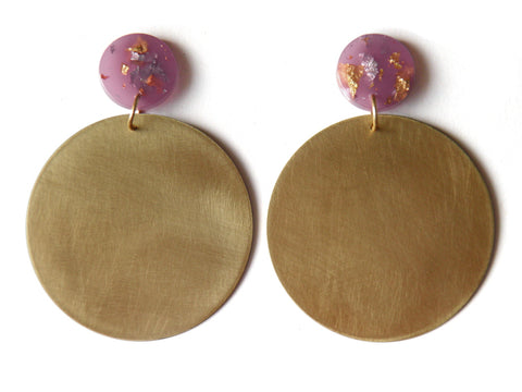 Large Brass + Resin Circle Drop Studs - Lilac