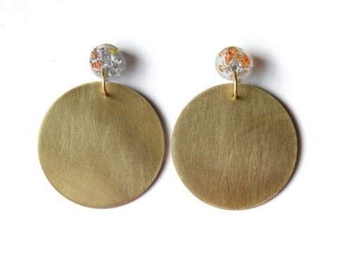 Small Brass + Resin Circle Drop Studs - SuperFancy Clear