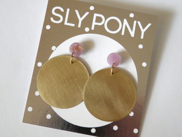Small Brass + Resin Circle Drop Studs - Lilac