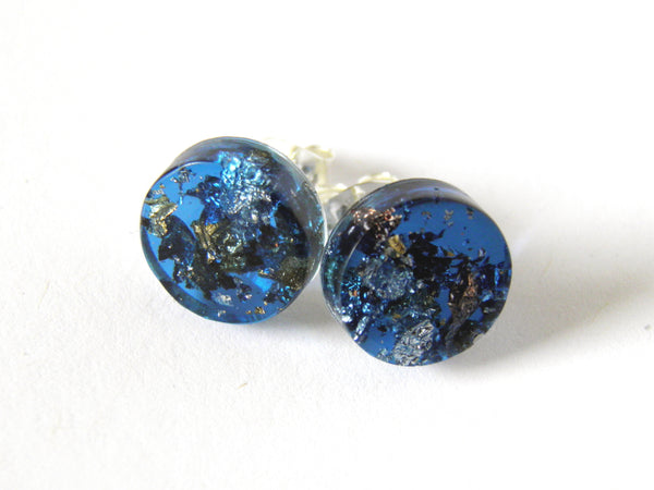 SuperFancy Blue Circle Stud Earrings