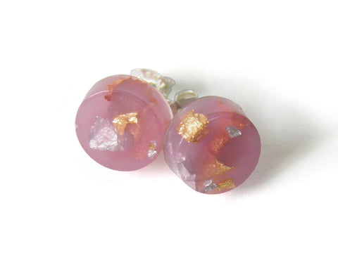 Lilac Circle Stud Earrings
