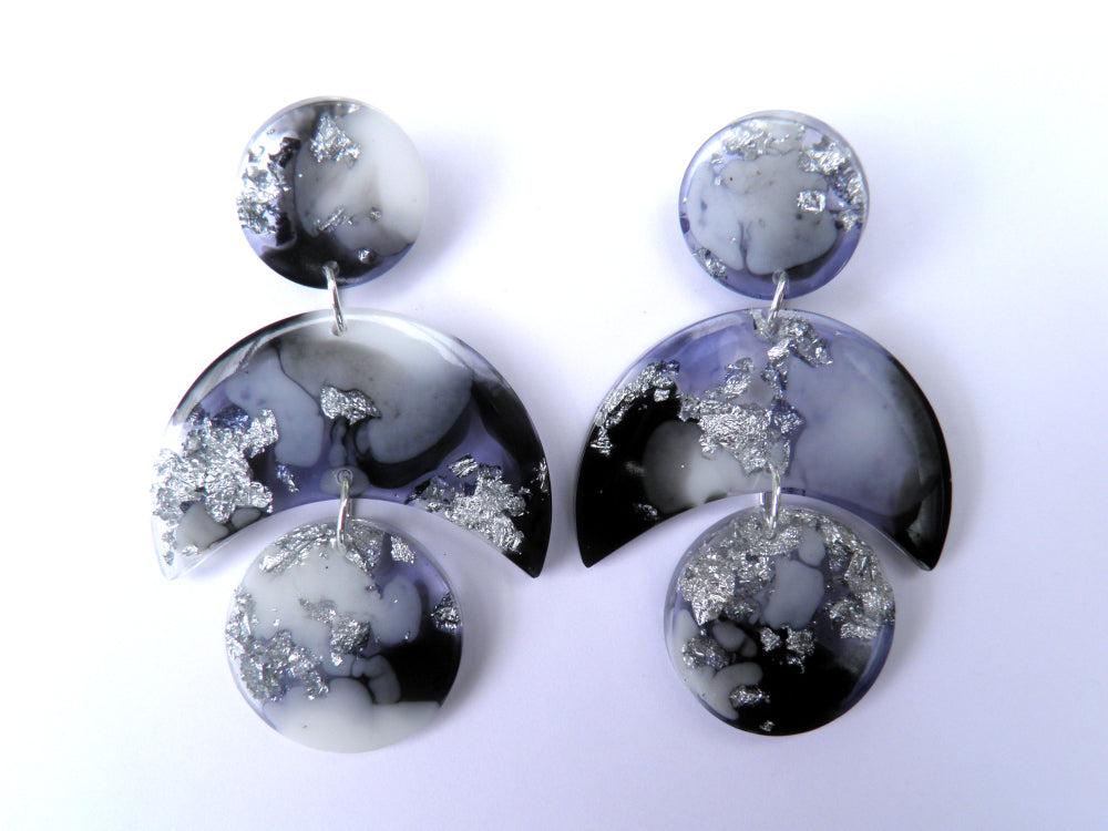 Monochrome Crescent Drop Studs / Large