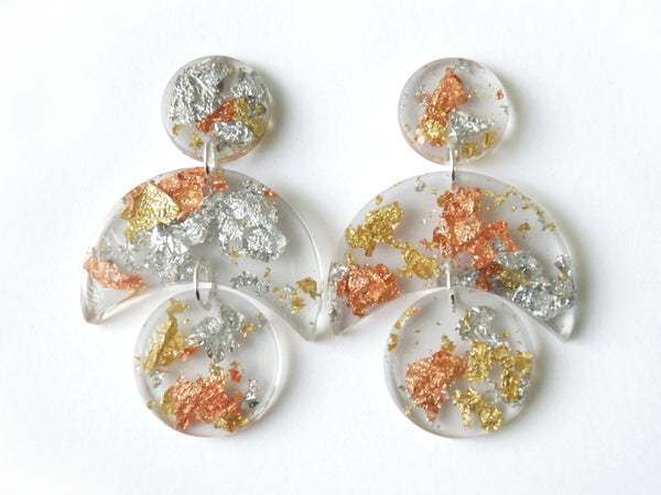 SuperFancy Clear Crescent Drop Studs / Large