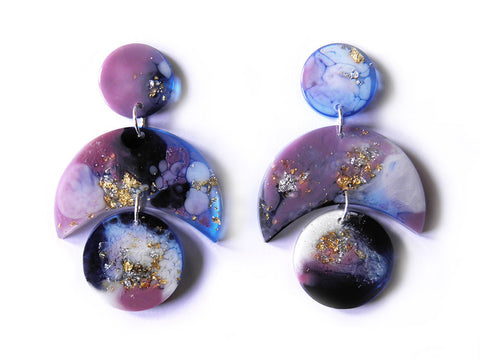 Supernova Crescent Drop Studs / Large