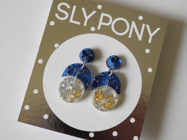 Moonshine Crescent Drop Studs / Mini