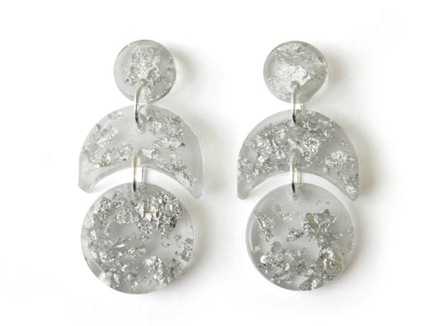 Silver Crescent Drop Studs / Mini