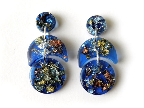 SuperFancy Blue Crescent Drop Studs / Mini