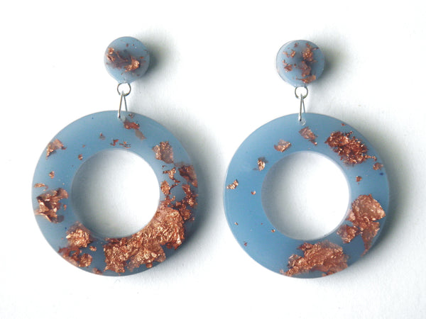 Pastel Blue Donut Drop Stud Earrings