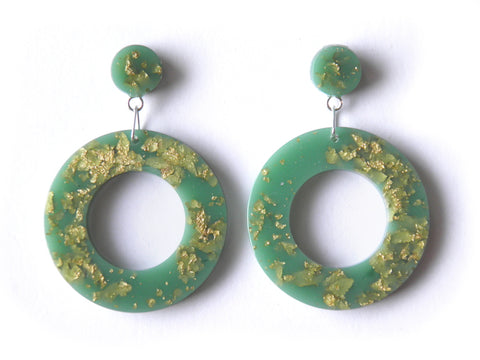 SALE Mint + Gold Donut Drop Stud Earrings