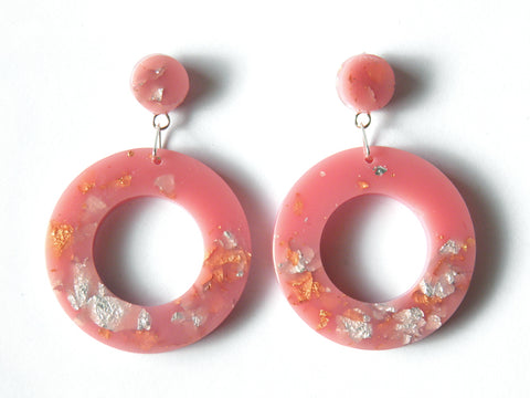 SALE Peach Donut Drop Stud Earrings