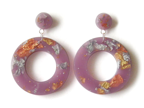 Lilac Resin Donut Drop Studs