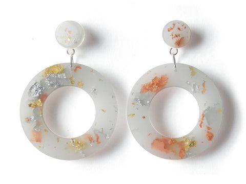 SALE SuperFancy White Resin Donut Drop Studs