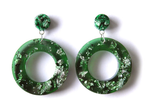 Green + Silver Donut Drop Stud Earrings