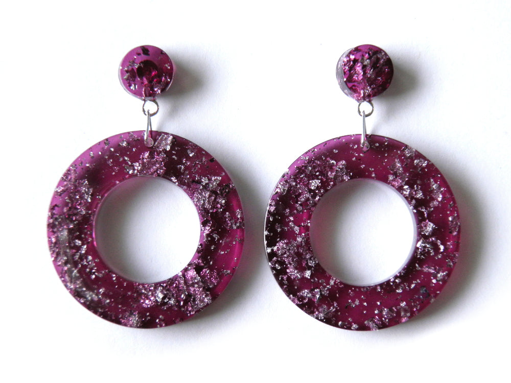 SALE Plum + Silver Resin Donut Drop Studs