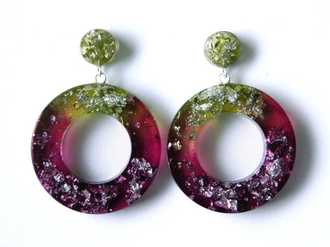 Chartreuse + Plum Leaf Donut Drop Stud Earrings SALE