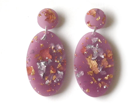Lilac Ellipse Drop Studs