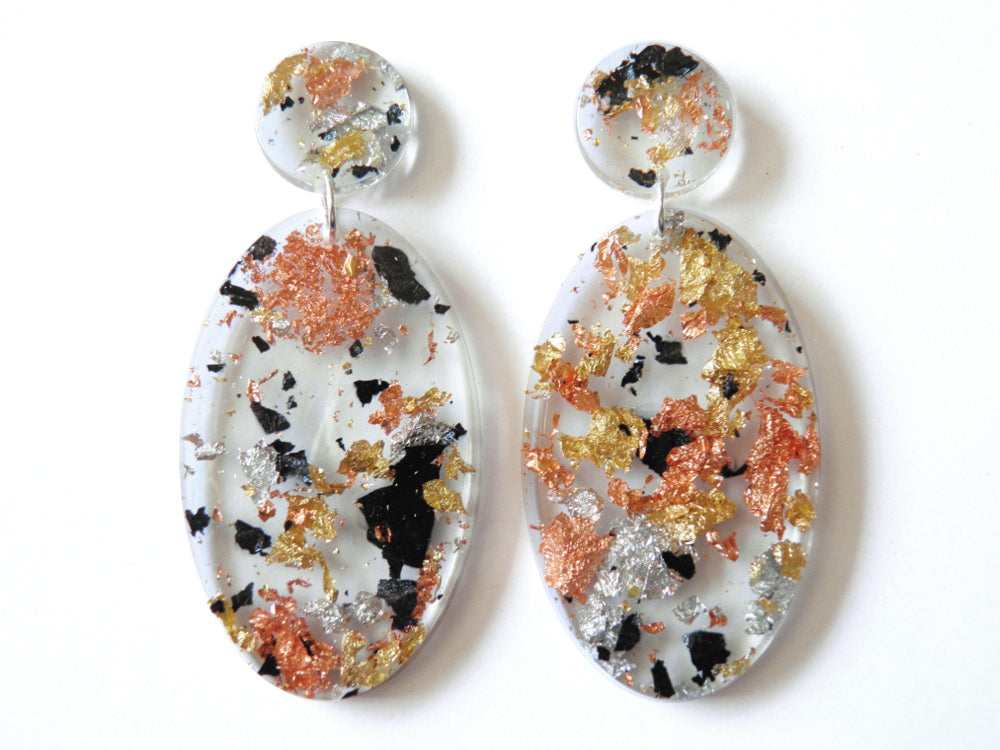 Tortoiseshell Resin Ellipse Drop Studs