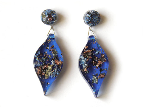 SALE SuperFancy Blue Leaf Drop Studs