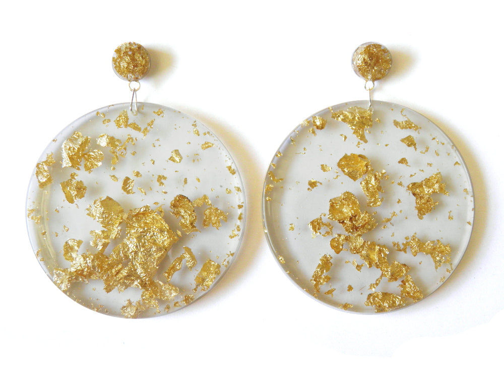 SALE Gold Resin Mega Drop Studs