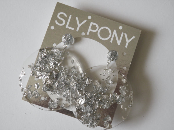 SALE Silver Mega Drop Studs