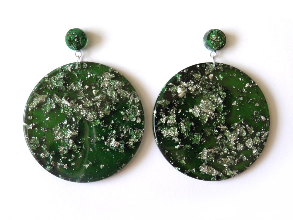 SALE Green + Silver Mega Drop Studs