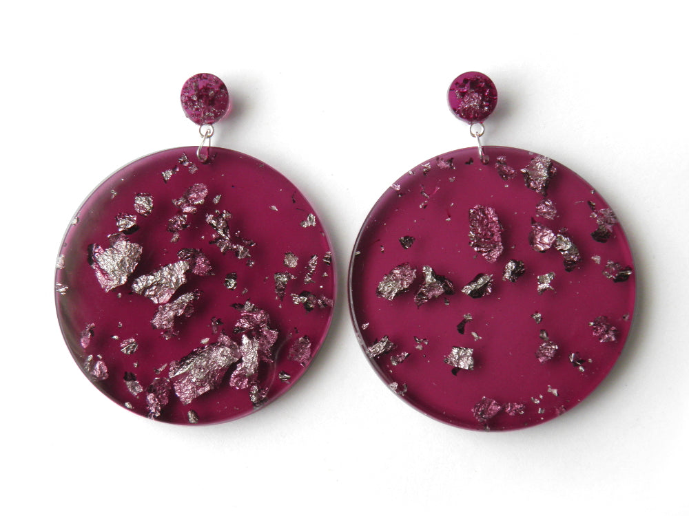 SALE Plum + Silver Mega Drop Studs