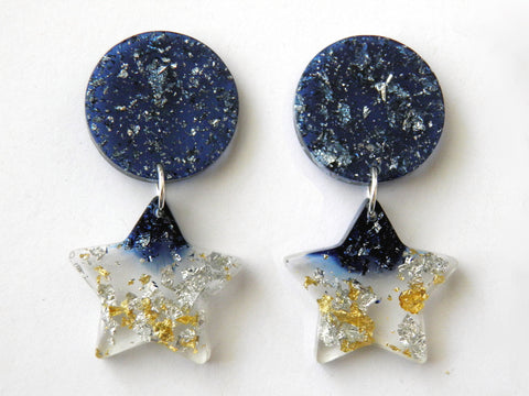 Moonshine Moon + Star Drop Studs