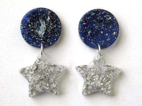 Blue + Silver Moon + Star Drop Studs