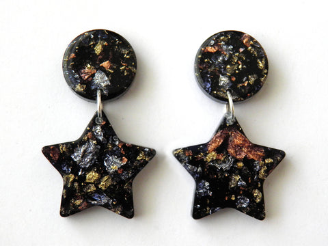 SuperFancy Black Moon + Star Drop Studs