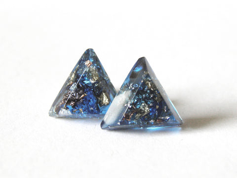 SuperFancy Blue Triangle Stud Earrings