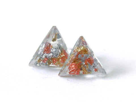 SuperFancy Clear Triangle Stud Earrings