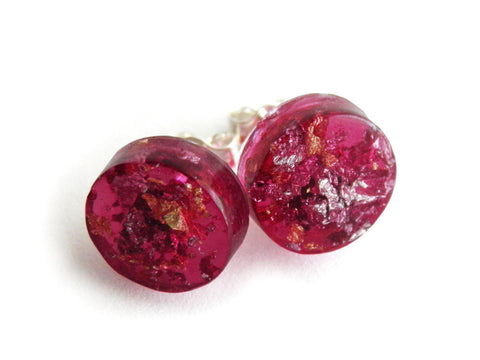 SuperFancy Pink Circle Stud Earrings
