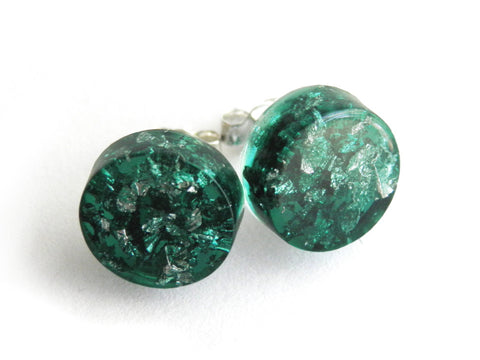 Green + Silver Circle Stud Earrings