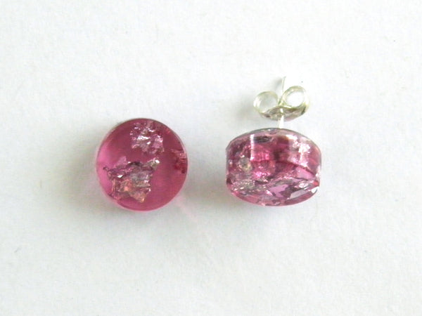 Discontinued Sale: Pink + Silver Circle Stud Earrings