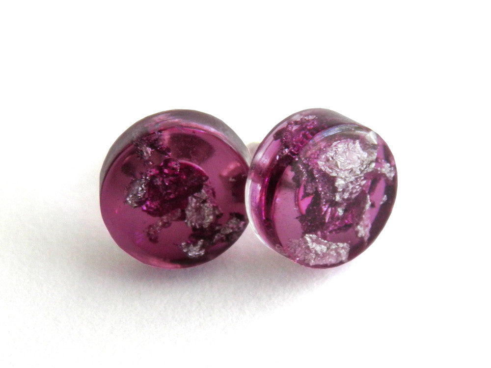 Plum + Silver Circle Stud Earrings