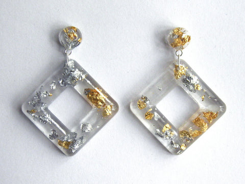 Discontinued Sale: Fancy Clear Cube Drop Studs