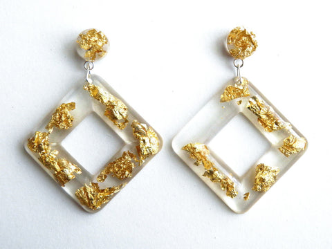 Discontinued Sale: Gold Cube Drop Stud Earrings