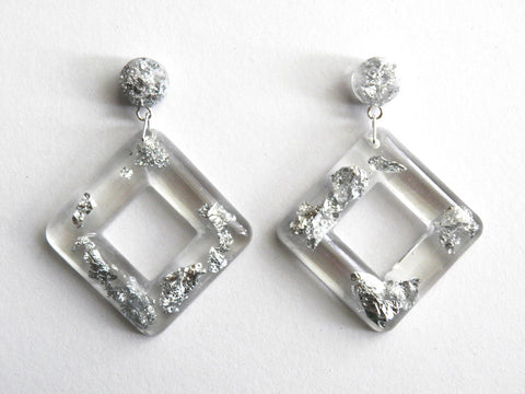 Discontinued Sale: Silver Cube Drop Stud Earrings