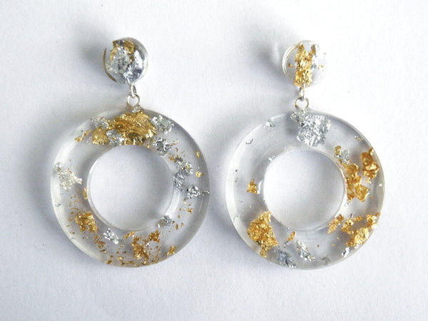 Fancy Clear Donut Drop Stud Earrings
