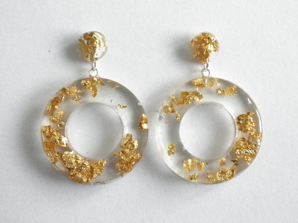 Gold Clear Donut Drop Stud Earrings