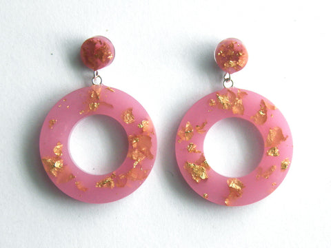 SALE Pastel Pink + Gold Donut Drop Stud Earrings