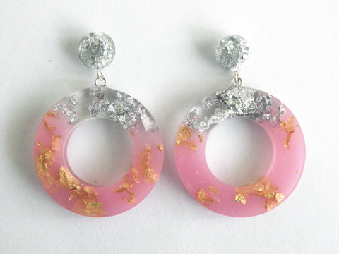 Pastel Pink, Gold + Silver Donut Drop Studs