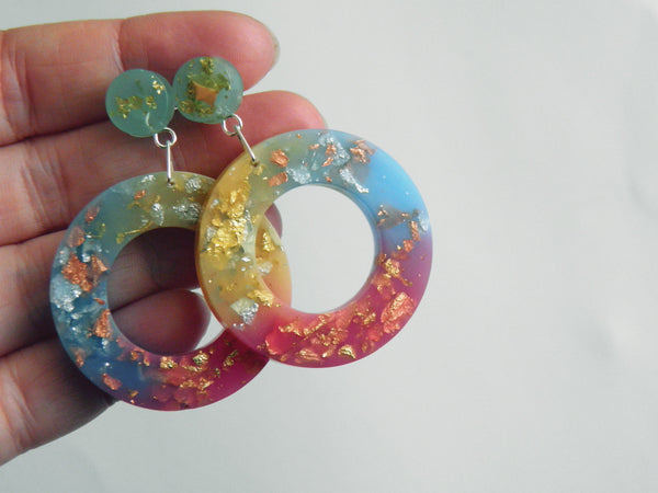 Rainbow Donut Drop Stud Earrings