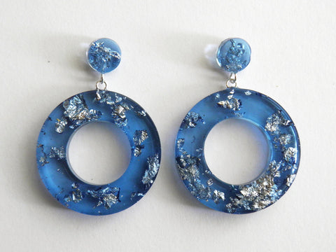 Blue + Silver Donut Drop Stud Earrings SALE
